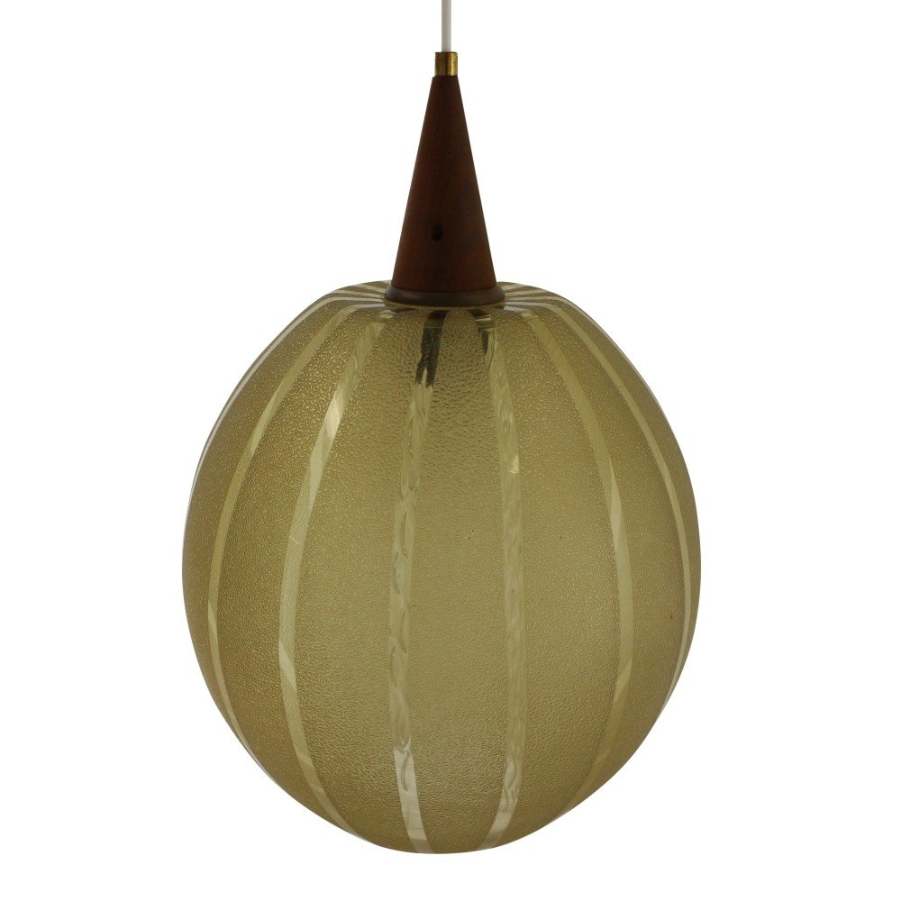 Massive etched glass pendant with an inner tube made of glass, 1960s