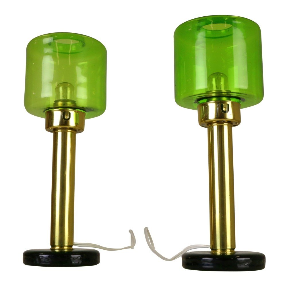 Rare set of two table lights with green glass by Hans Agne Jakobsson, 1960s