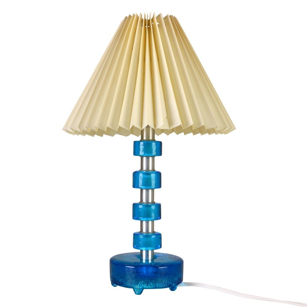Table light with blue glass discs and harmonica shade, 1950s