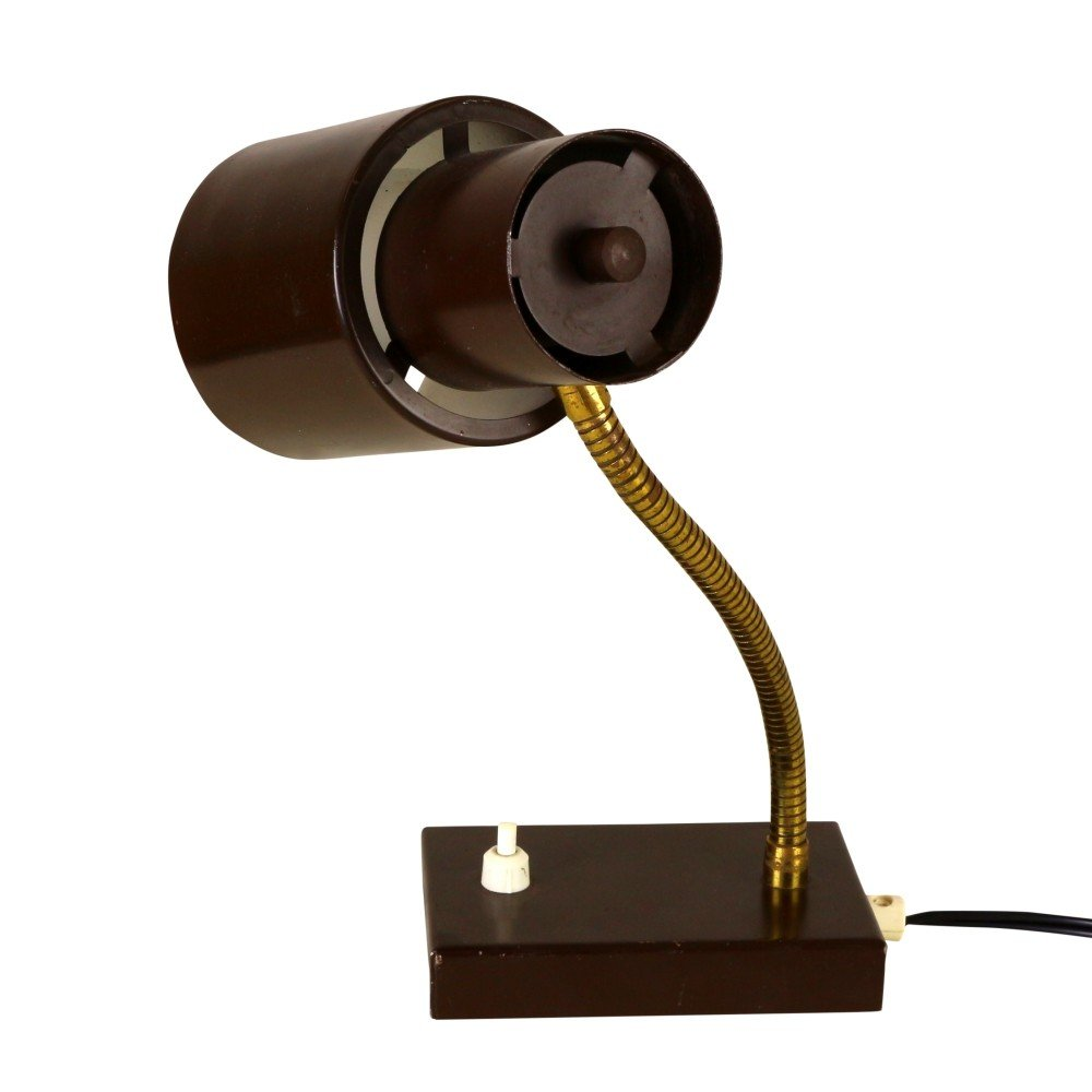 Quality dark brown desk light, 1960s