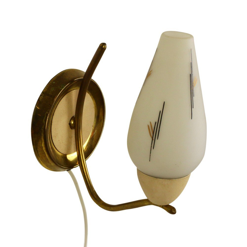 Milk glass and brass wall light, 1950s