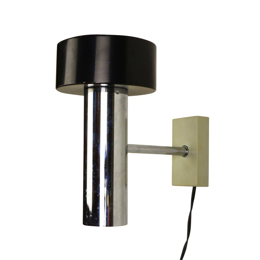 Wall Lamp New Design : Modern Black and Chrome design wall lamp from the seventies #1072