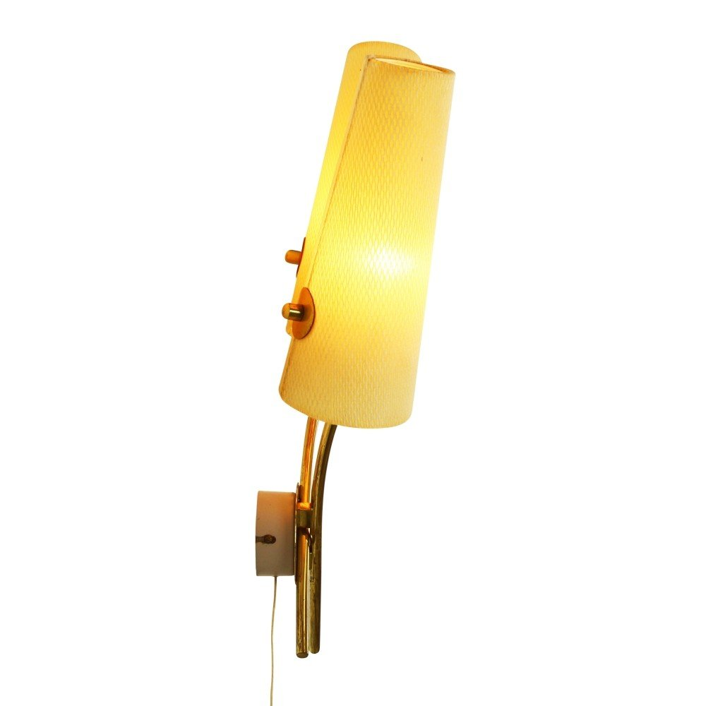 Quality glass dual light wall lamp, 1960s