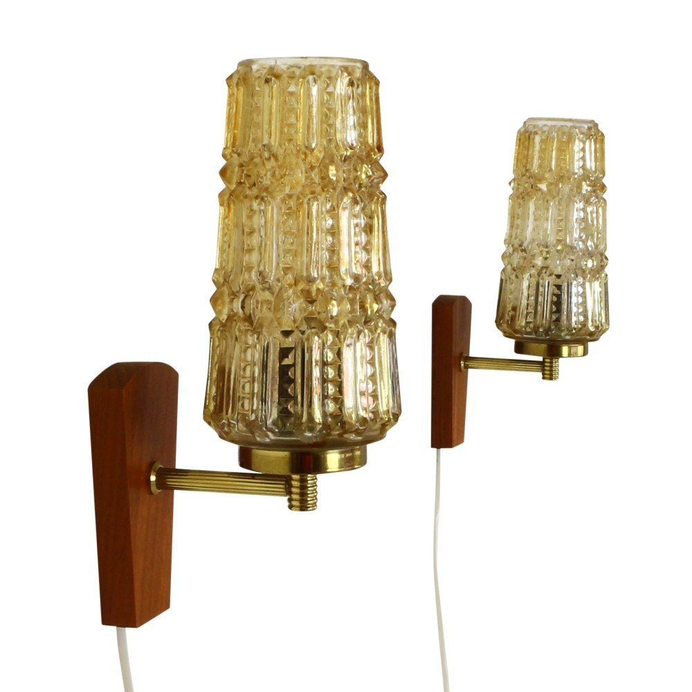 Set of two high quality wall lights by Svend Mejlstrøm for MS Belysning Norway, 1960s