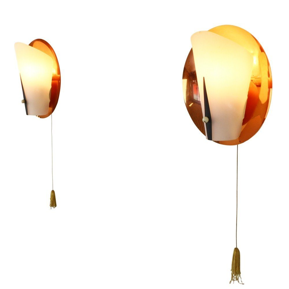Set of two copper wall lights, 1950s