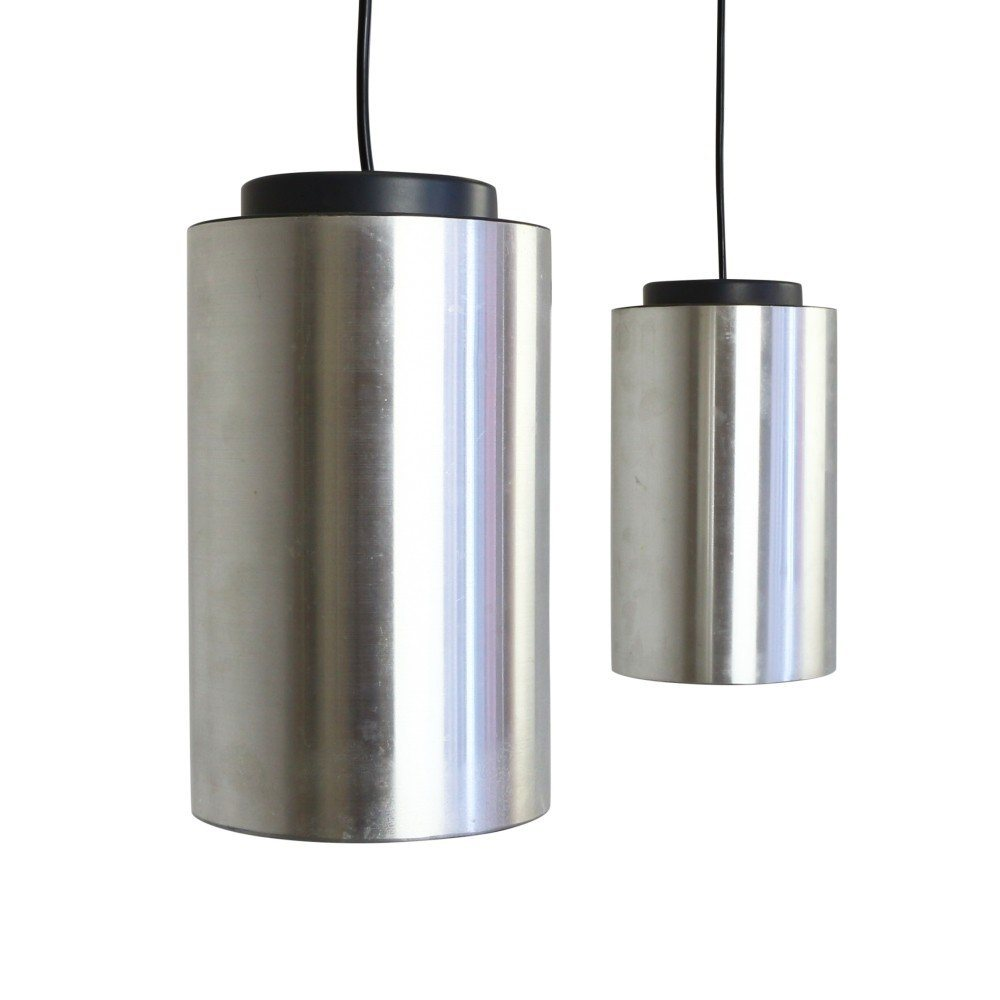 Pair of minimalistic cylindrical pendant lights by Philips Holland, 1970s