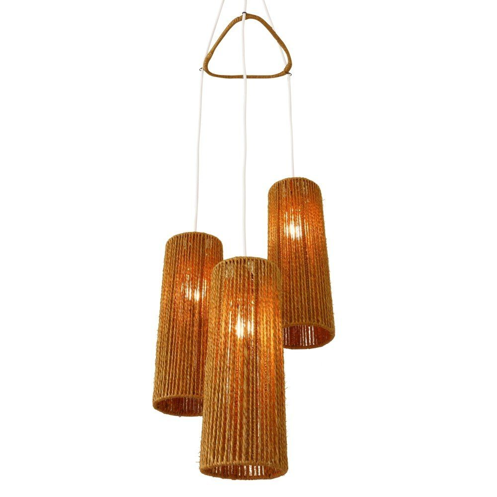 Tri-cone Scandinavian pendant light with cylindrical rope shades, 1950s