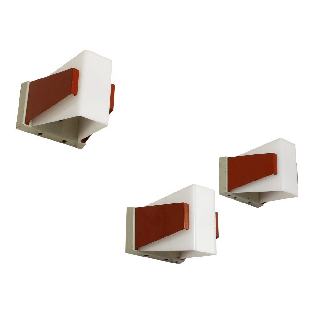 Rare set of 3 modern wall lights by Philips Holland, 1950s