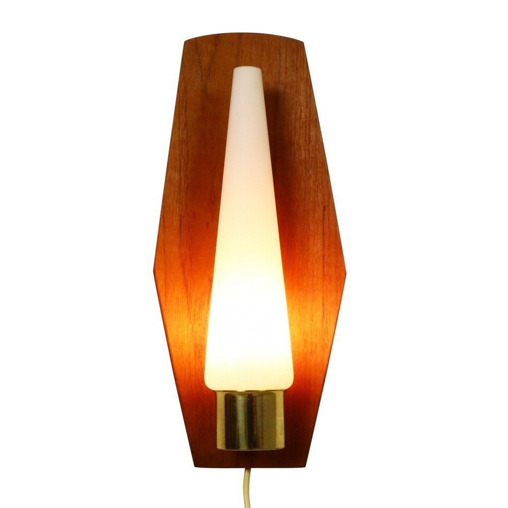 Subtle Scandinavian wall light with milk glass and teak, 1960s