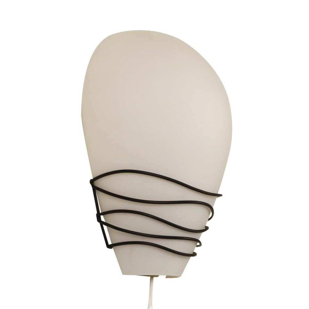 Rare Philips NX20 wall light by Louis Kalff made of milk glass and black wire, 1950s