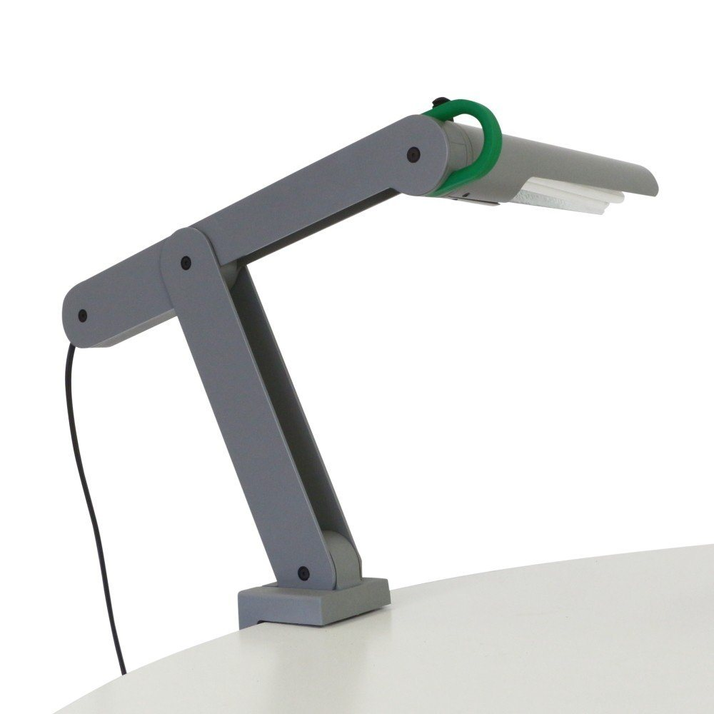 Quality grey metal Memphis style clamp desk light, 1980s