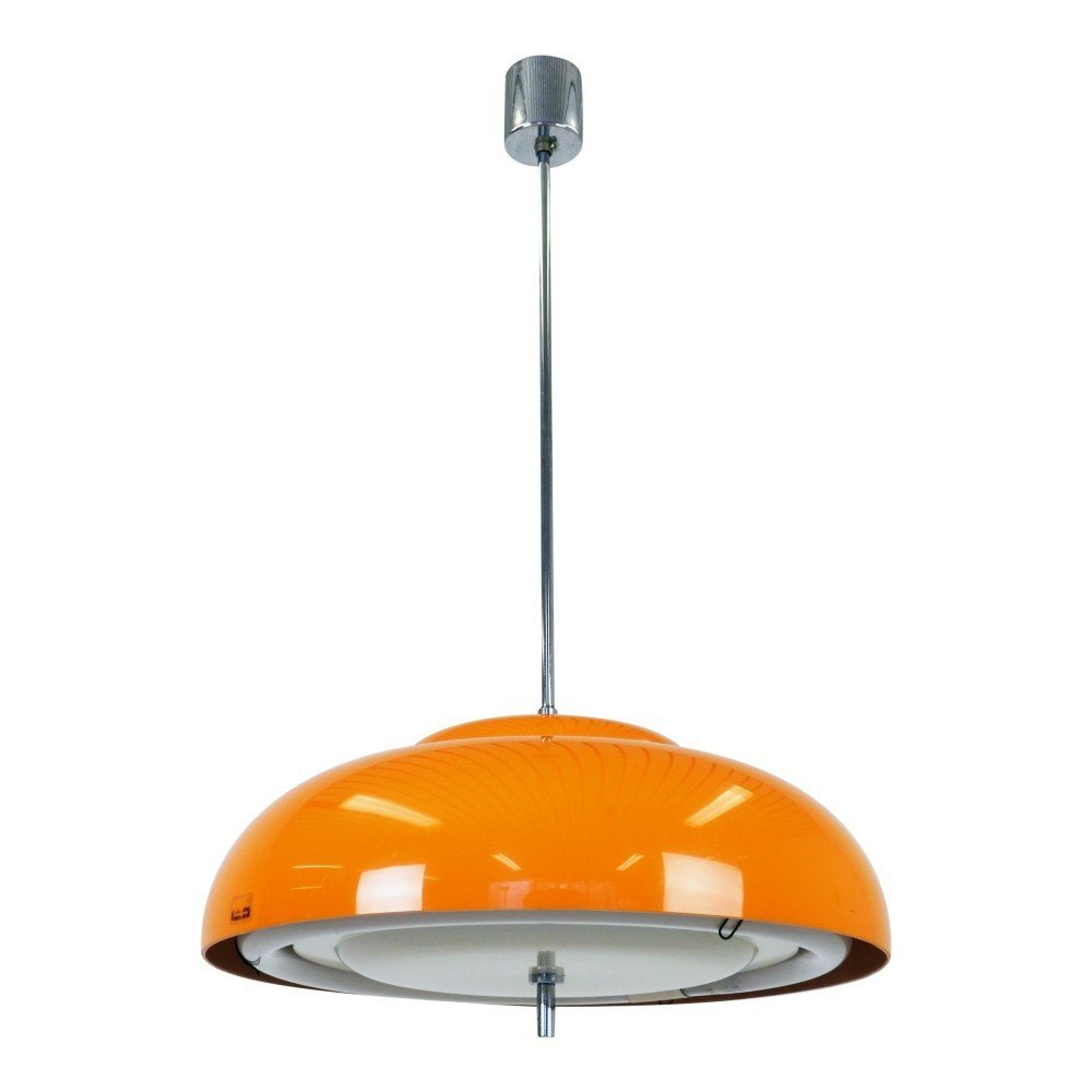 space age orange pendant with round fluorescent light bulb 1970s 1190. Black Bedroom Furniture Sets. Home Design Ideas