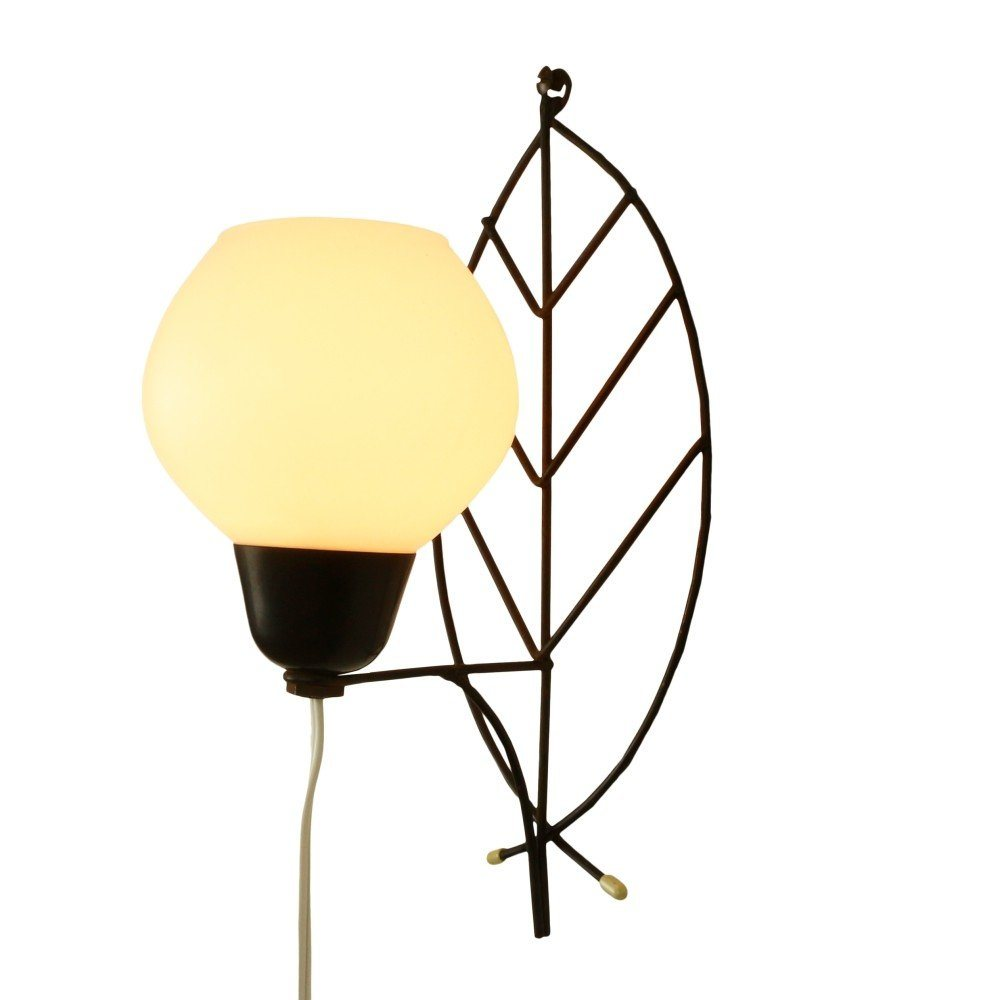 Decorative leaf inspired wall sconce with a glass shade, 1960s