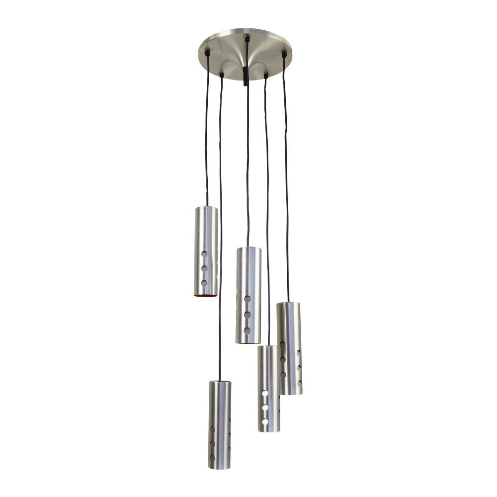 Chandelier pendant with 5 cascading cylinder lights, 1960s