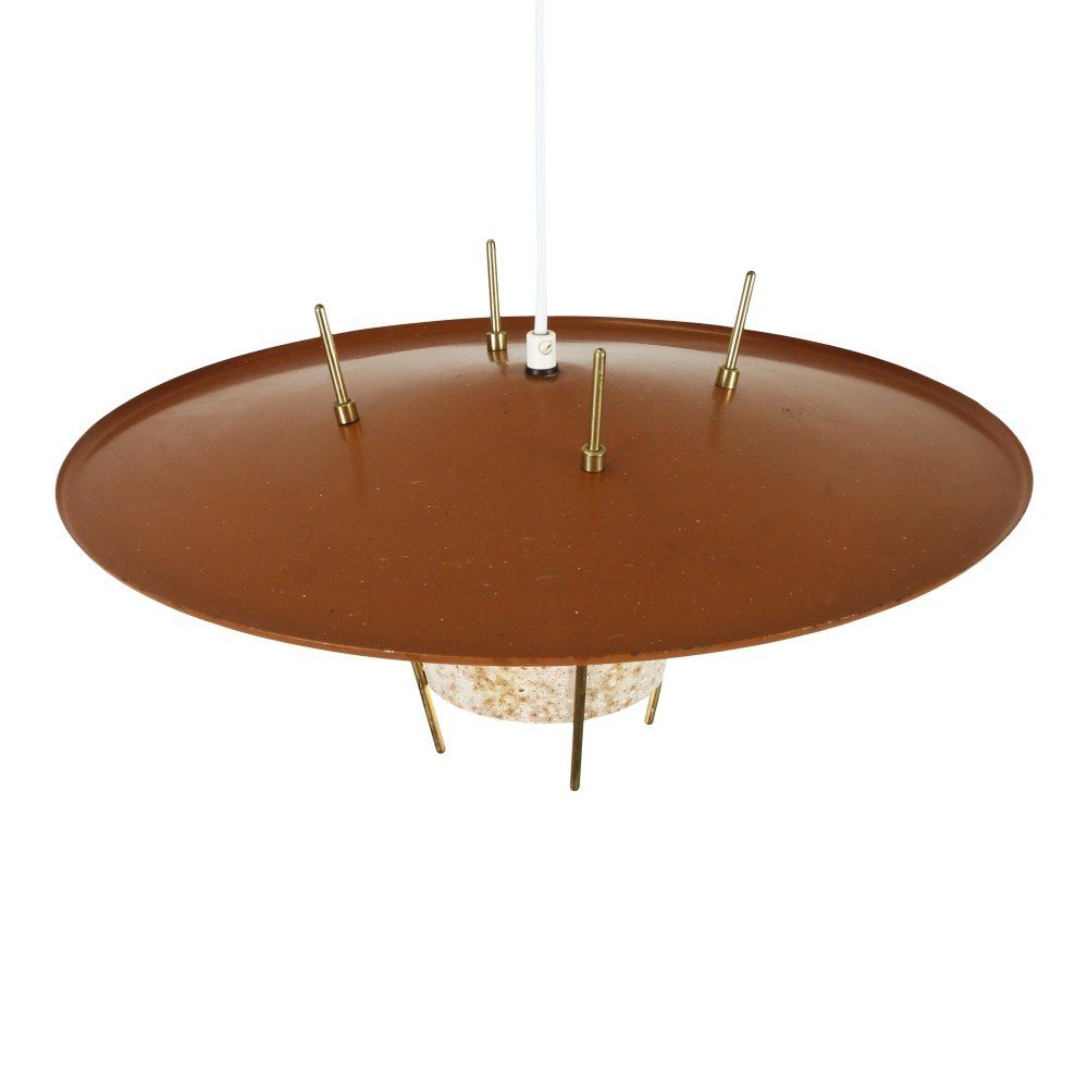 Wonderful brick red pendant with a perforated metal diffuser, 1950s