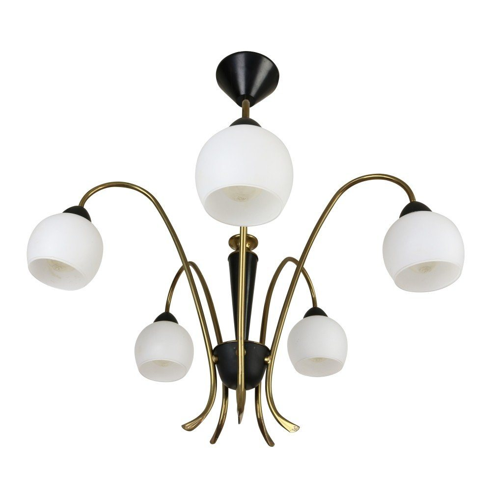 Italian 5 Light Pendant Chandelier 1950s