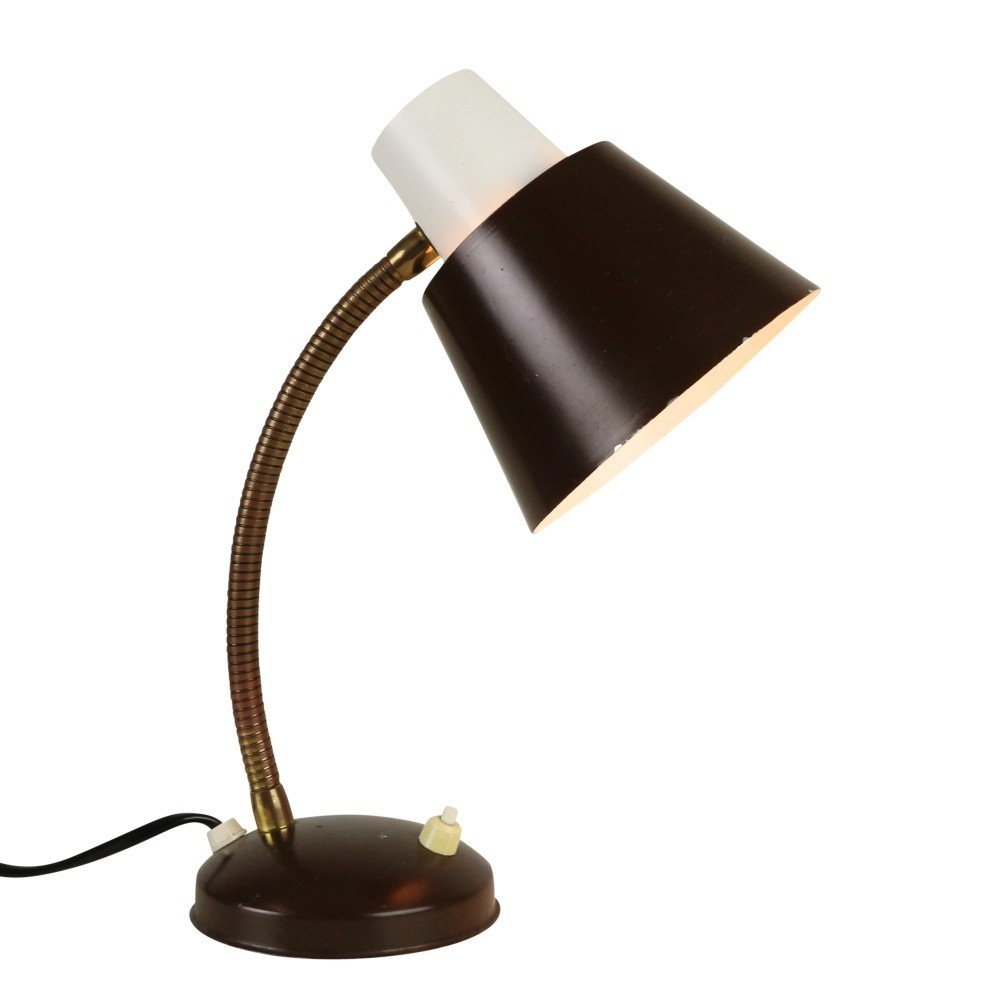 Dark brown and white desk light by H. Busquet for Hala Zeist, 1960s