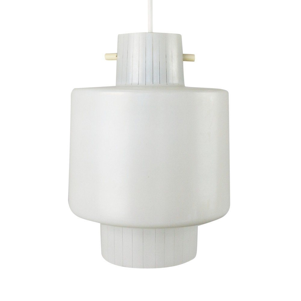 Milk glass pendant with stripe pattern, 1960s