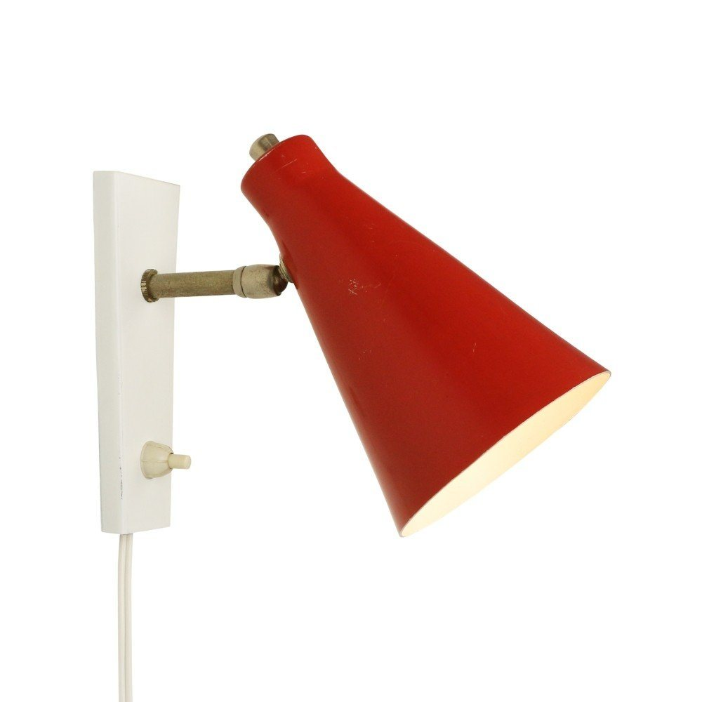 Small red and white wall light, 1960s #1235