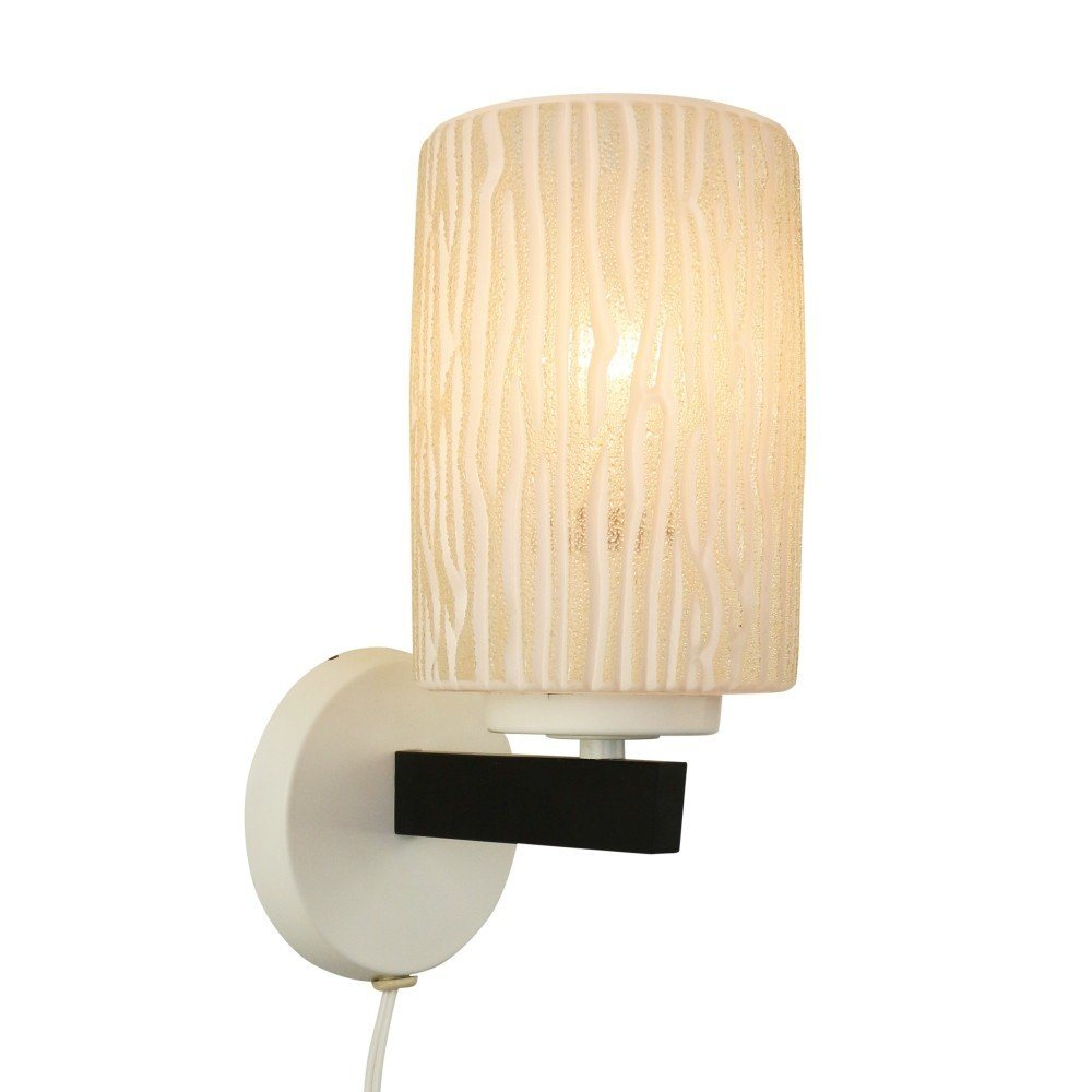 Modern black and white wall light with decorated glass shade, 1960s