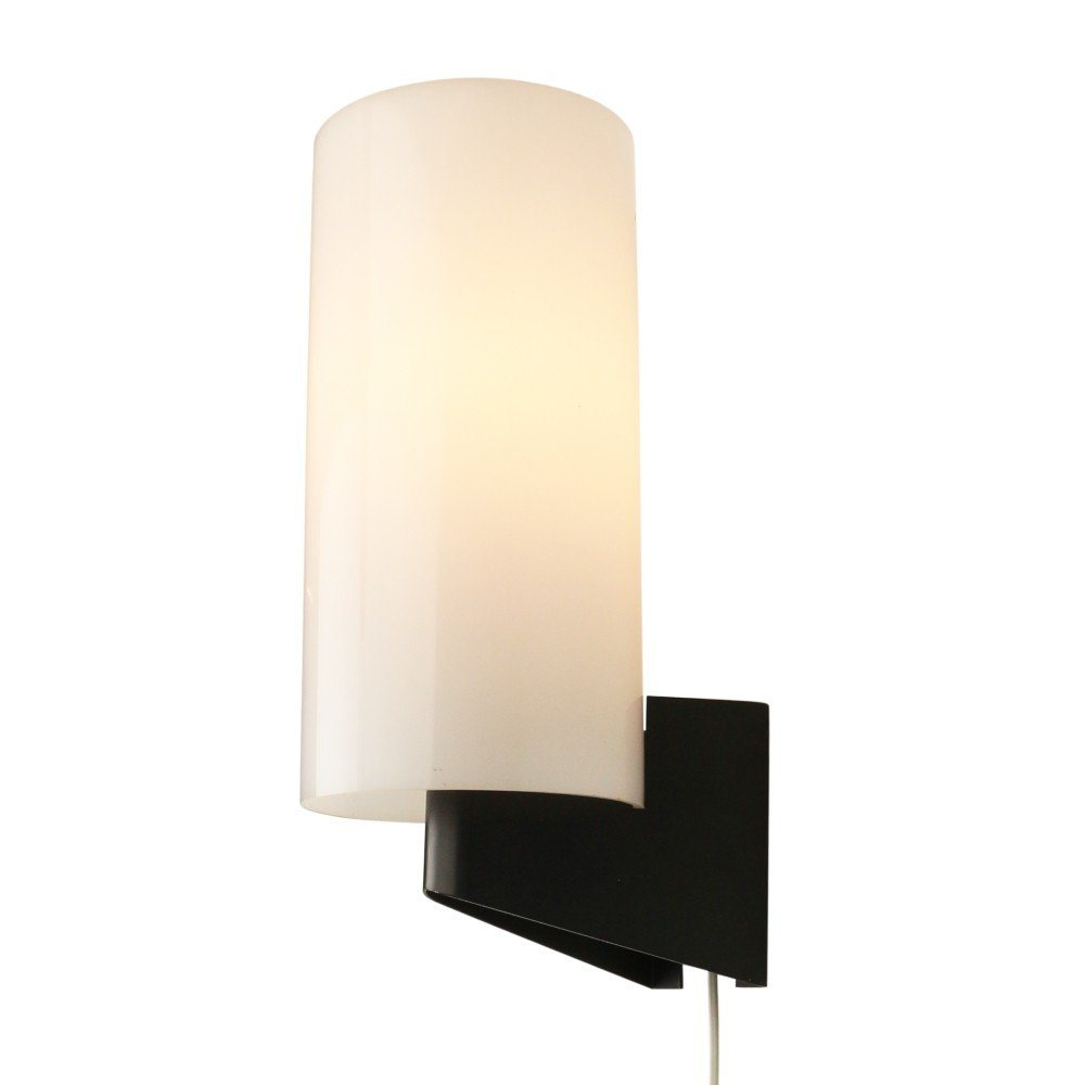 Modern black and white wall light made of metal and acrylic, 1960s