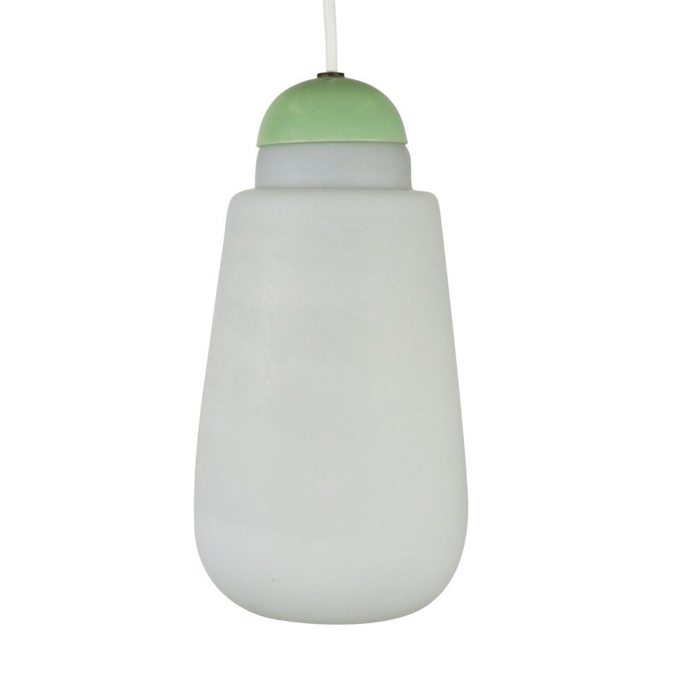Milk glass pendant by Philips with a pastel green top, 1960s