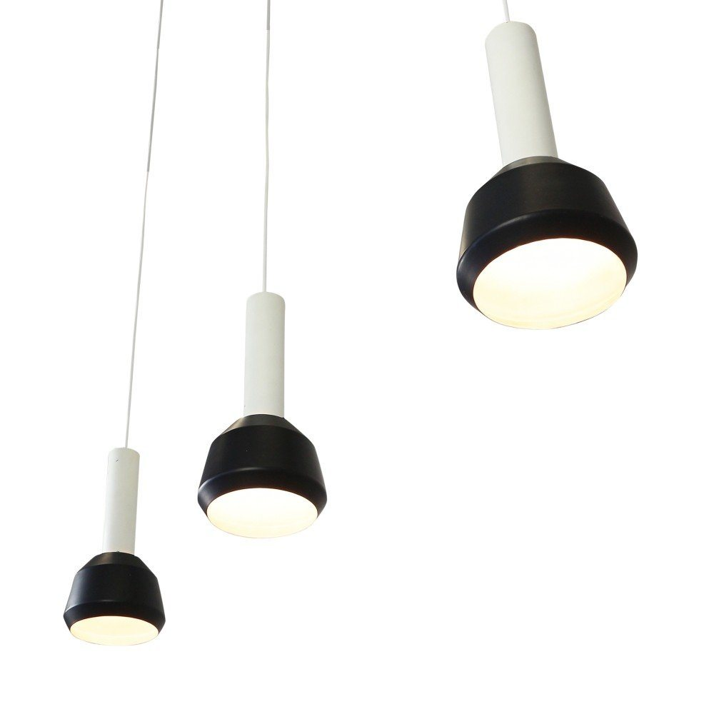 Set Of 3 Black And White Philips Pendant Lights 1960s