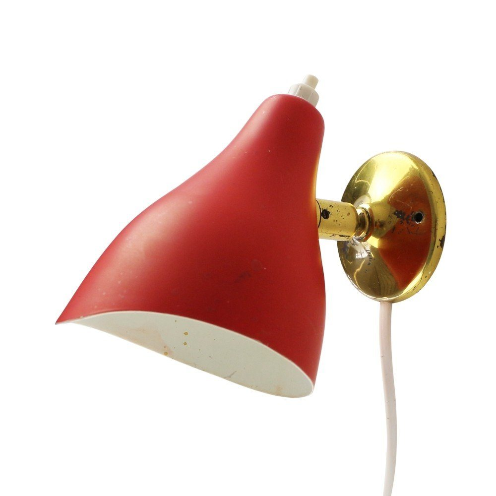 Red wall light by Stilux Milano, 1950s