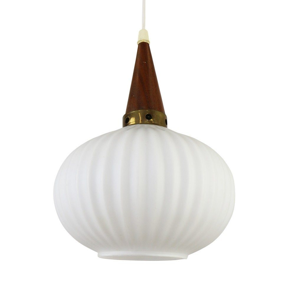 Pendant with frosted glass and teak wood, 1960s