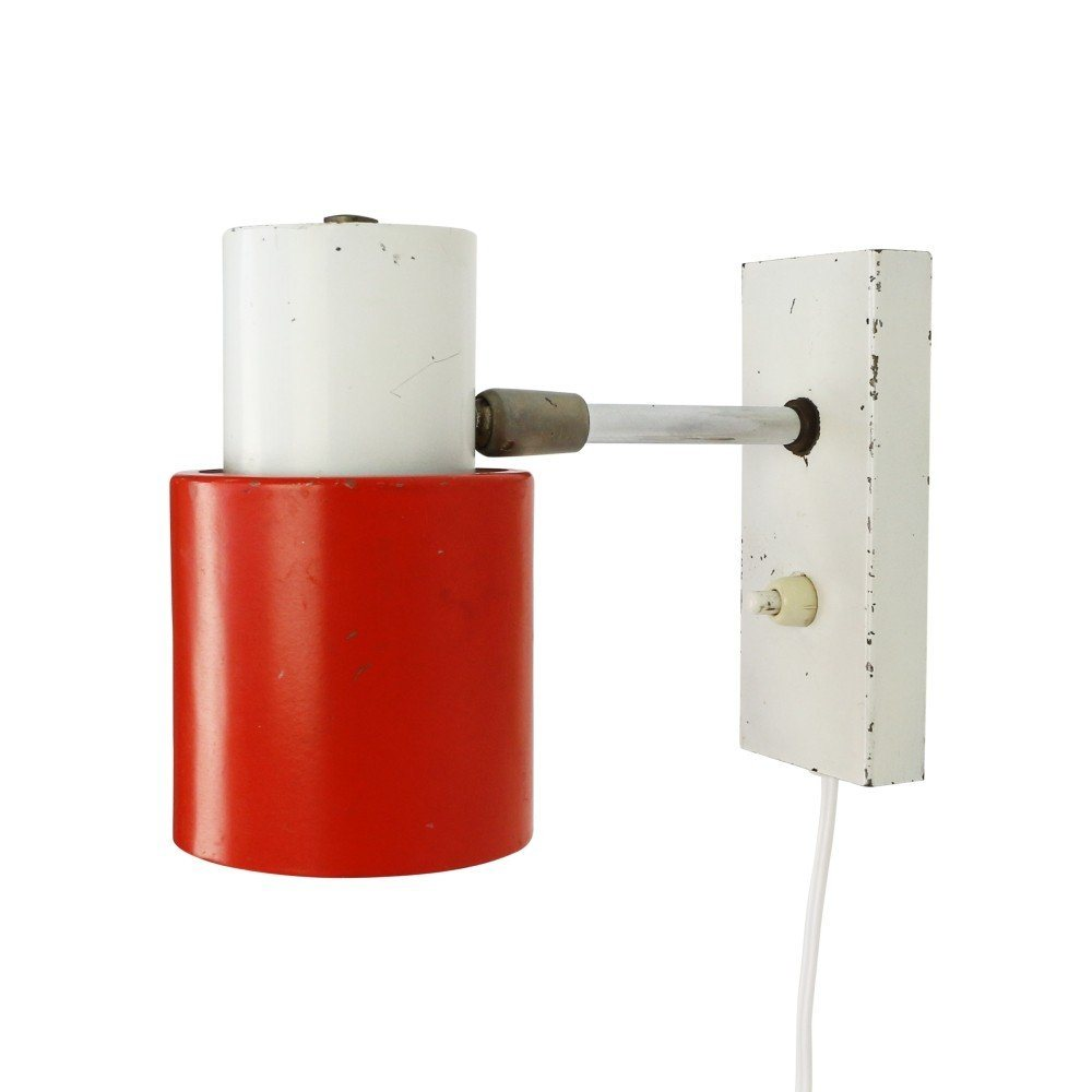 Vintage red and white metal wall light, 1960s