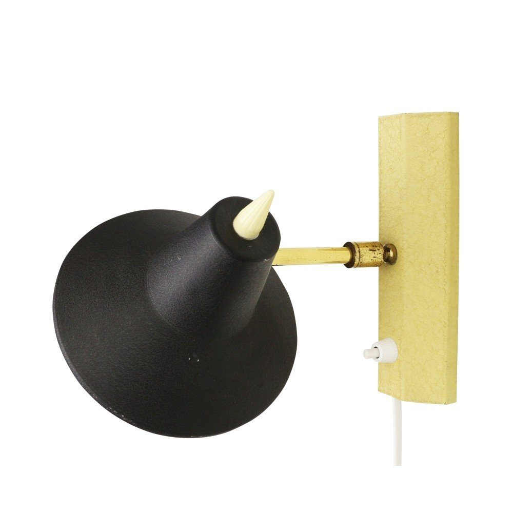 Vintage wall light in yellow and black, 1950s