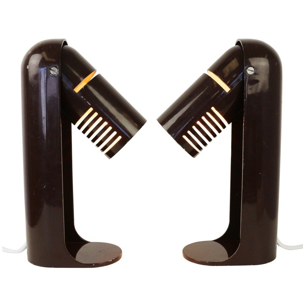 Set of two dark brown Space Age Italian Flip Top desk lights by Richard Carruthers for Leuka, 1970s