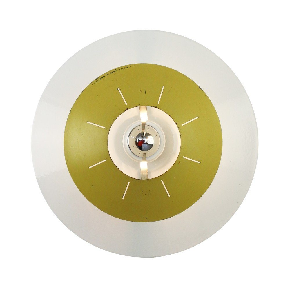 Yellow NT15 wall / ceiling light by Louis Kalff for Philips, 1958