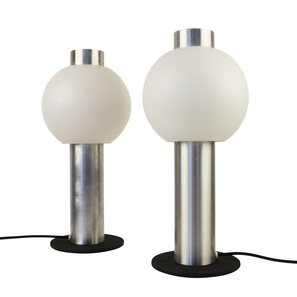 Set of two rare Raak Amsterdam 'bolbliksem' table lights, 1960s