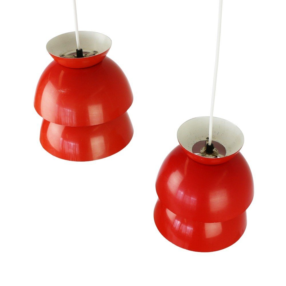 Pair of red / orange Scandinavian pendant lights, 1960s