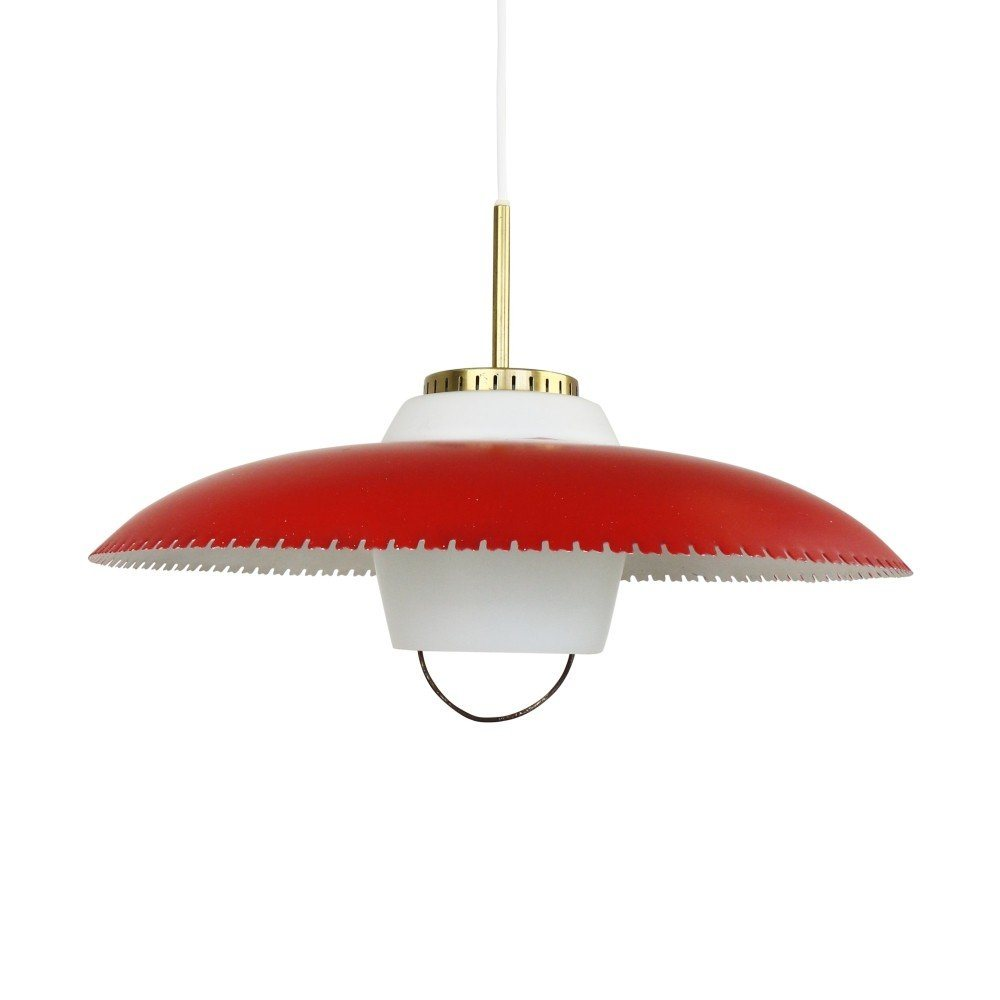 Red P-443 pendant by Lyfa Denmark, 1950