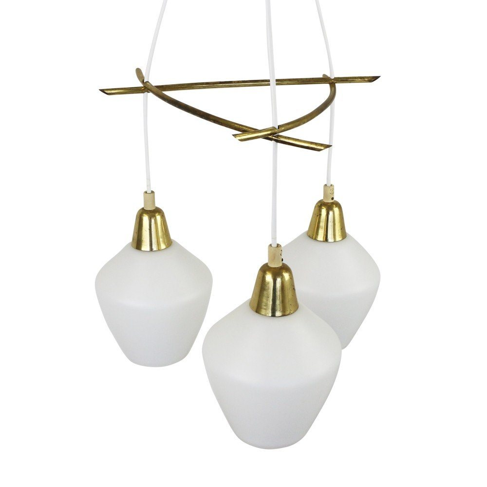 Scandinavian chandelier with milk glass shades and brass details, 1960s