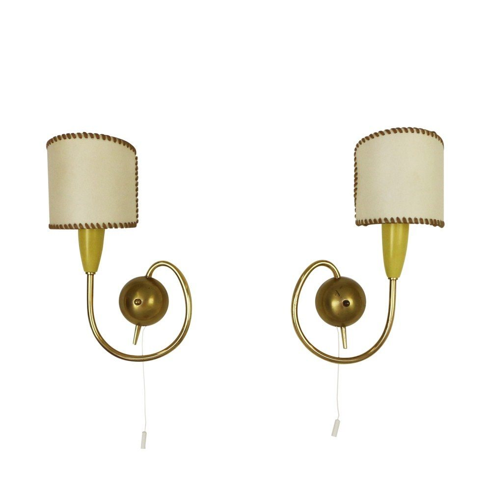 Pair of brass French wall lights, 1950s