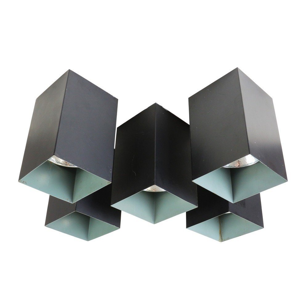 Set of 5 modern cubistic ceiling lights (R-320) by Raak Amsterdam, 1960s