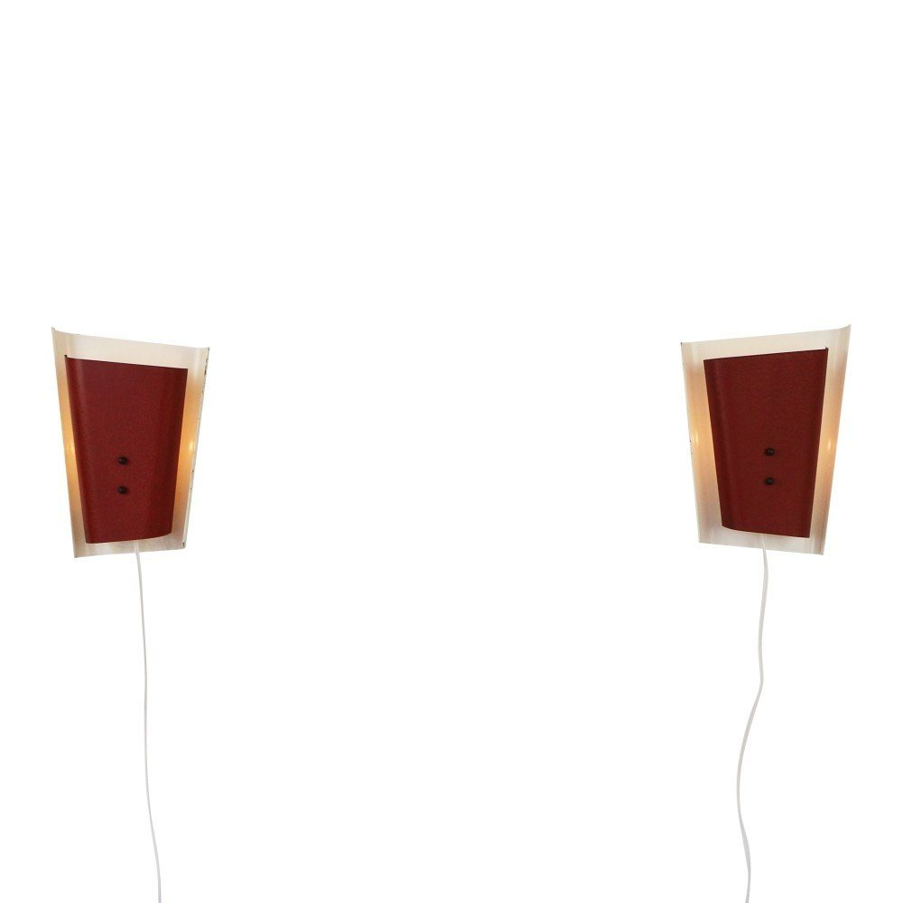 Pair of red and white metal wall sconces, 1950s
