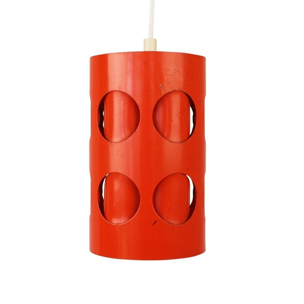 Perforated orange / red pendant light, 1970s
