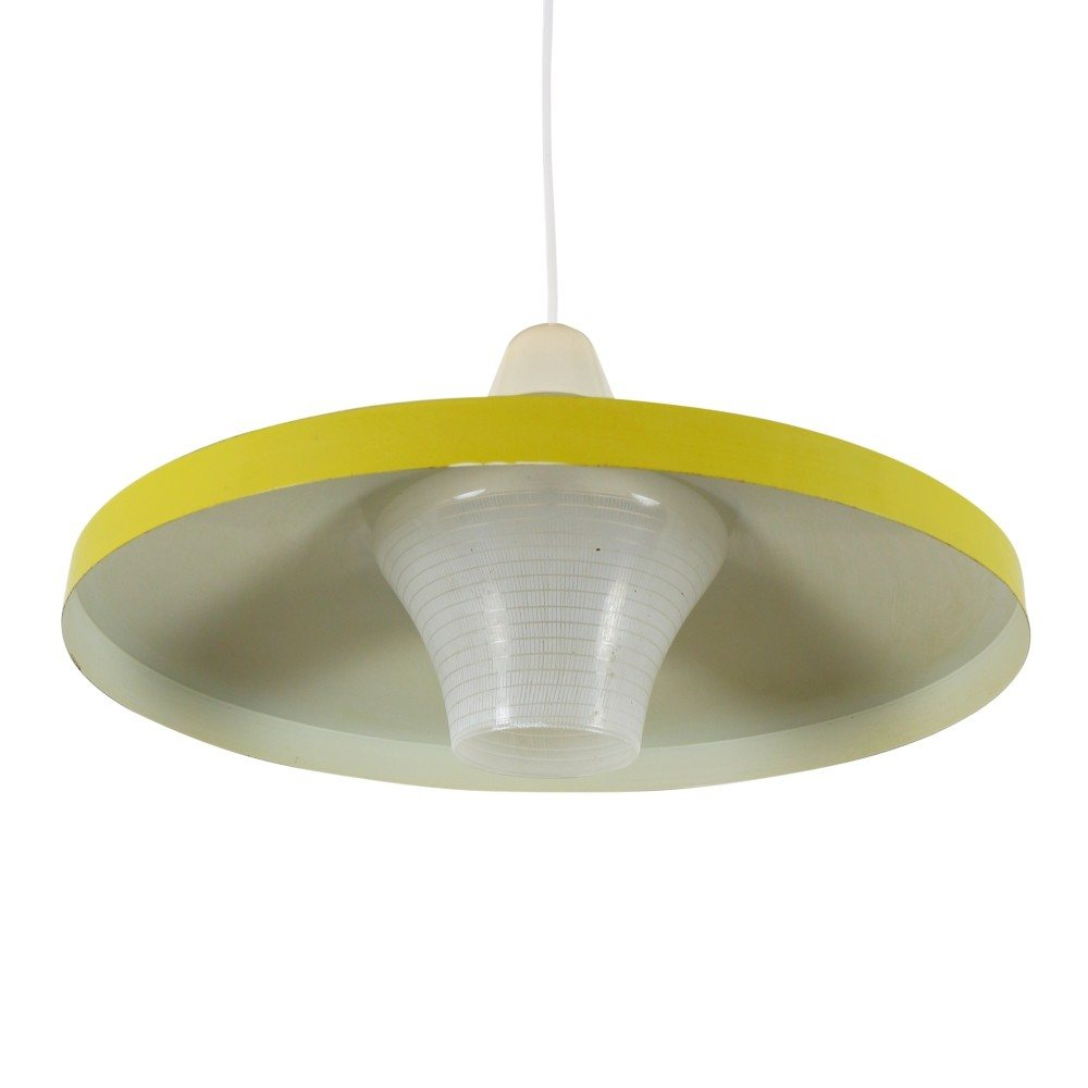 Bright Yellow pendant light with patterned glass shade, 1960s