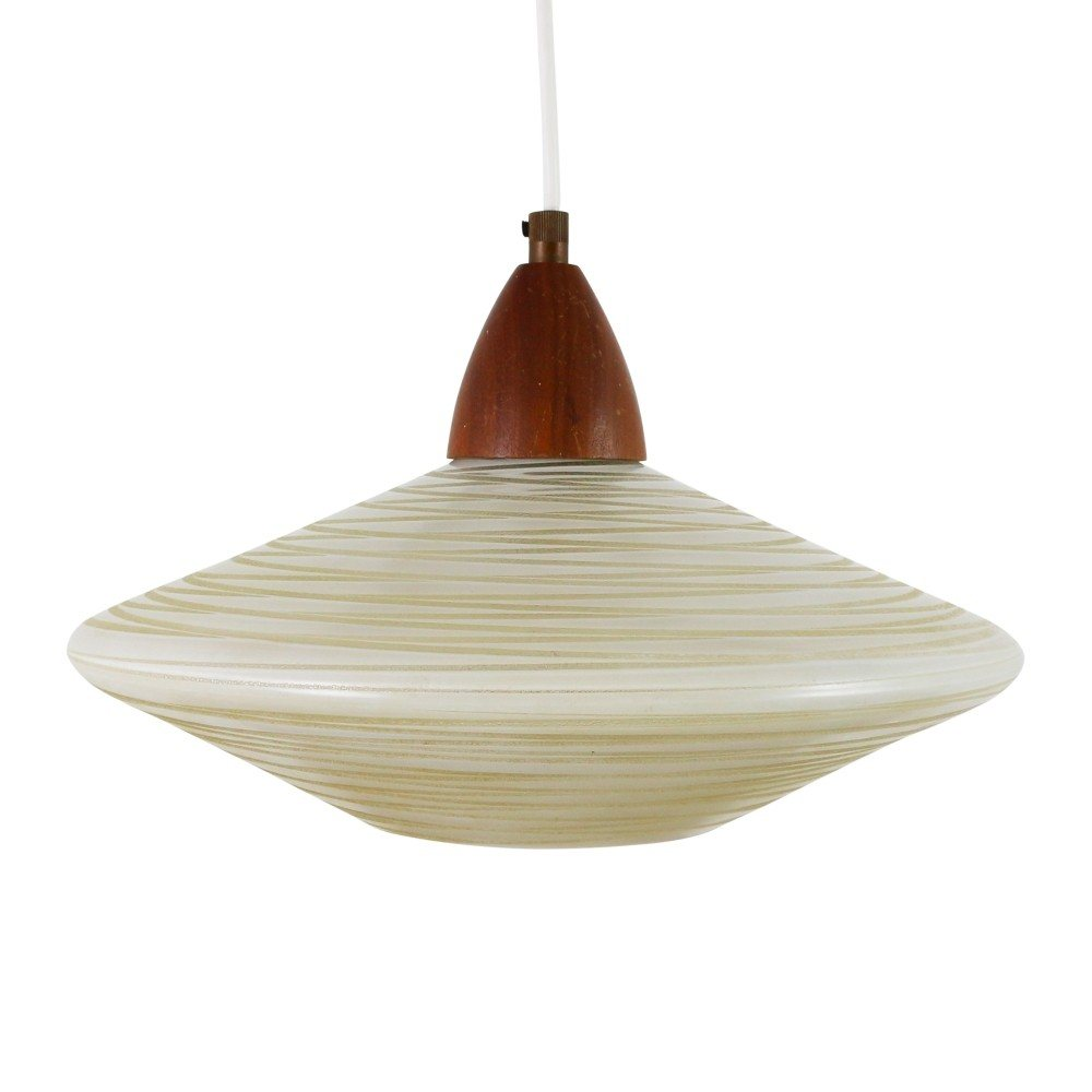Philips pendant light with striped glass and wood, 1960s