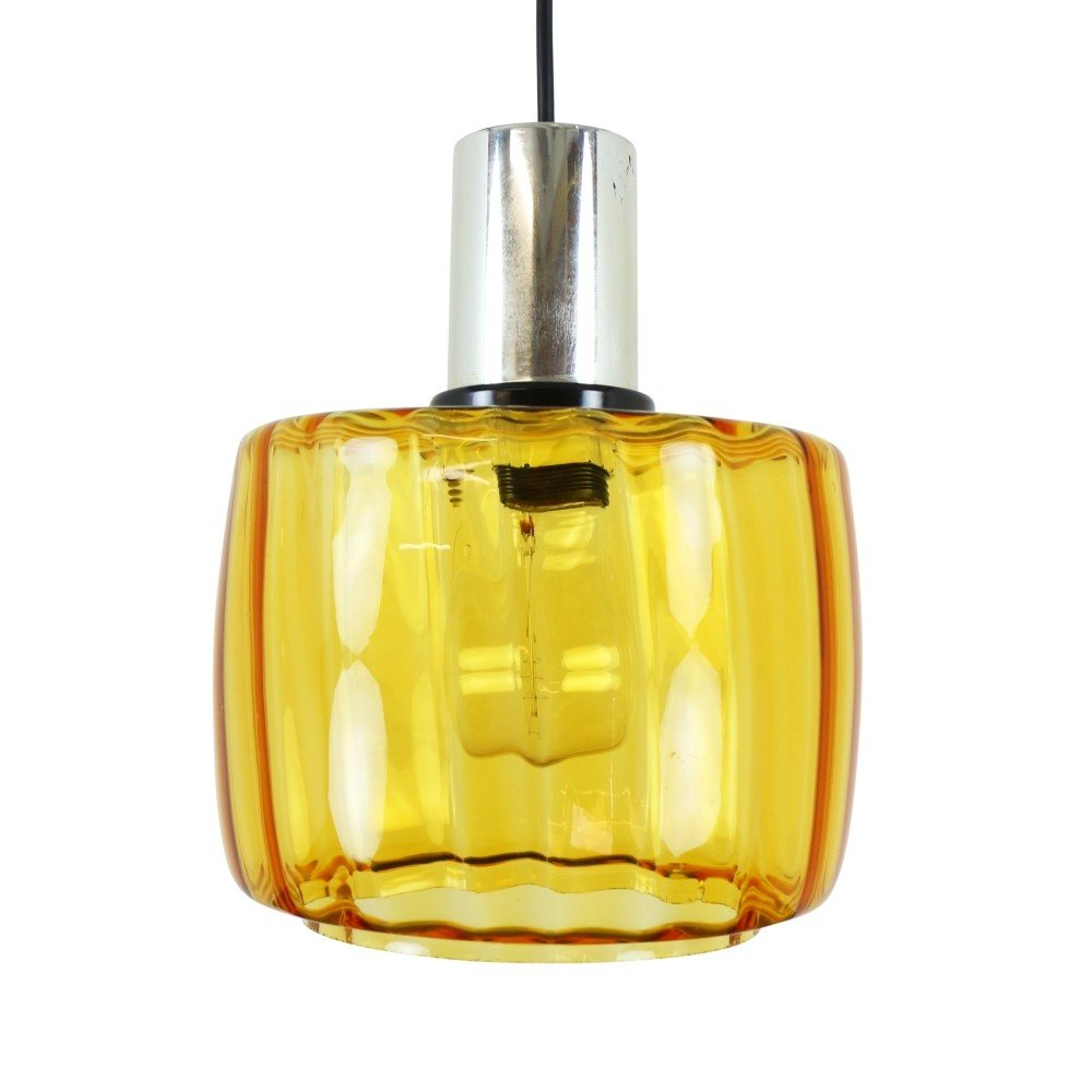 Vintage Amber Yellow Glass Pendant Light, 1970s