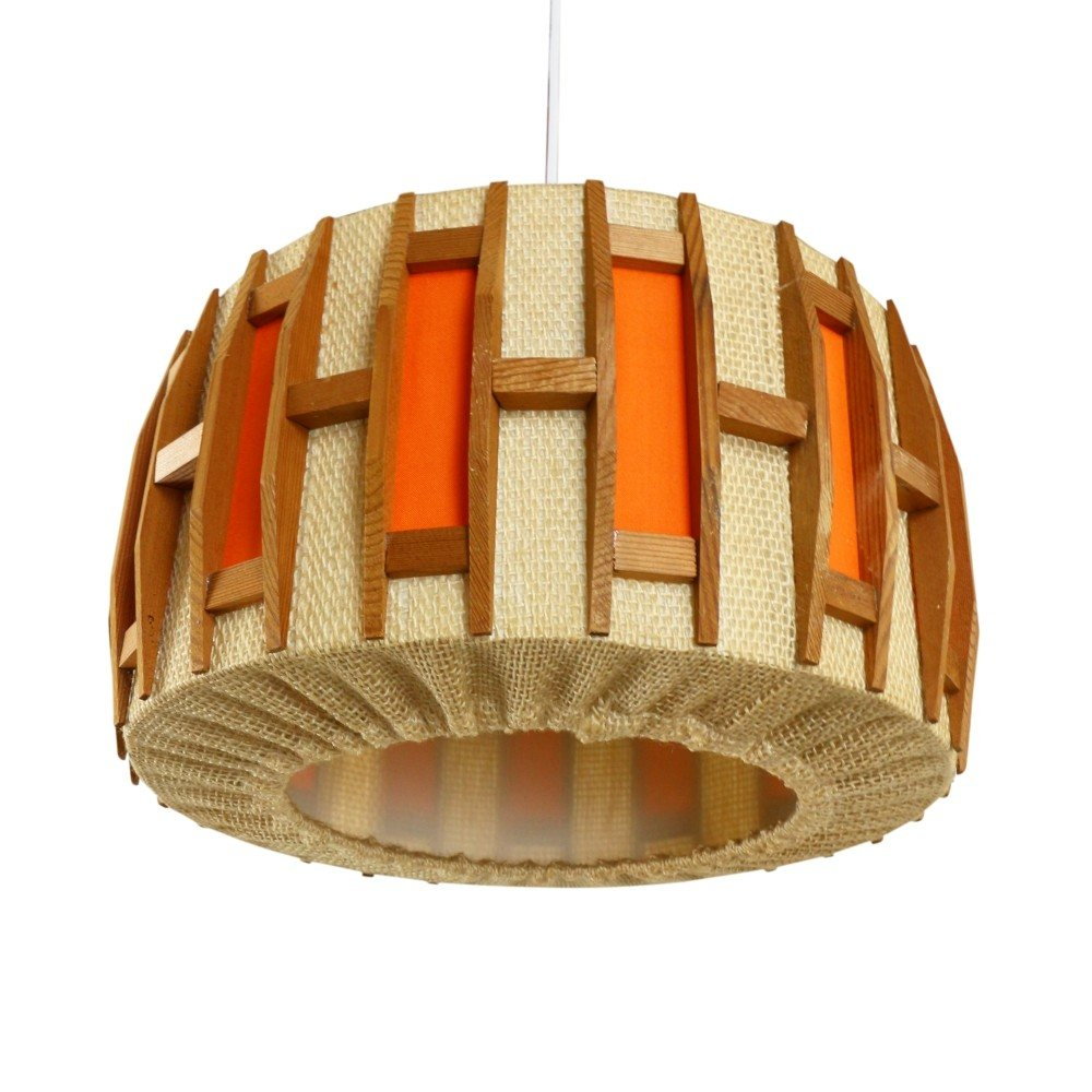 Scandinavian wood and natural jute pendant, 1960s