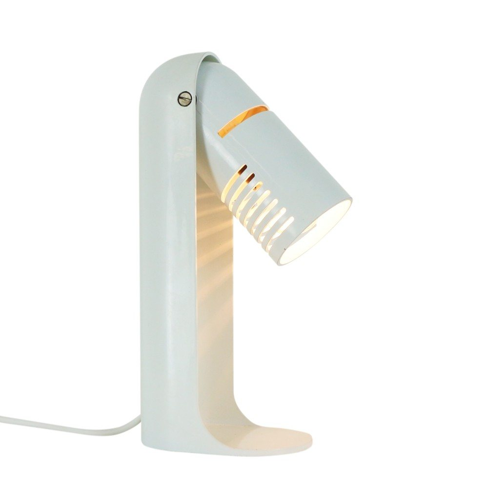 White Space Age Italian Flip Top desk light by Richard Carruthers for Leuka, 1970s