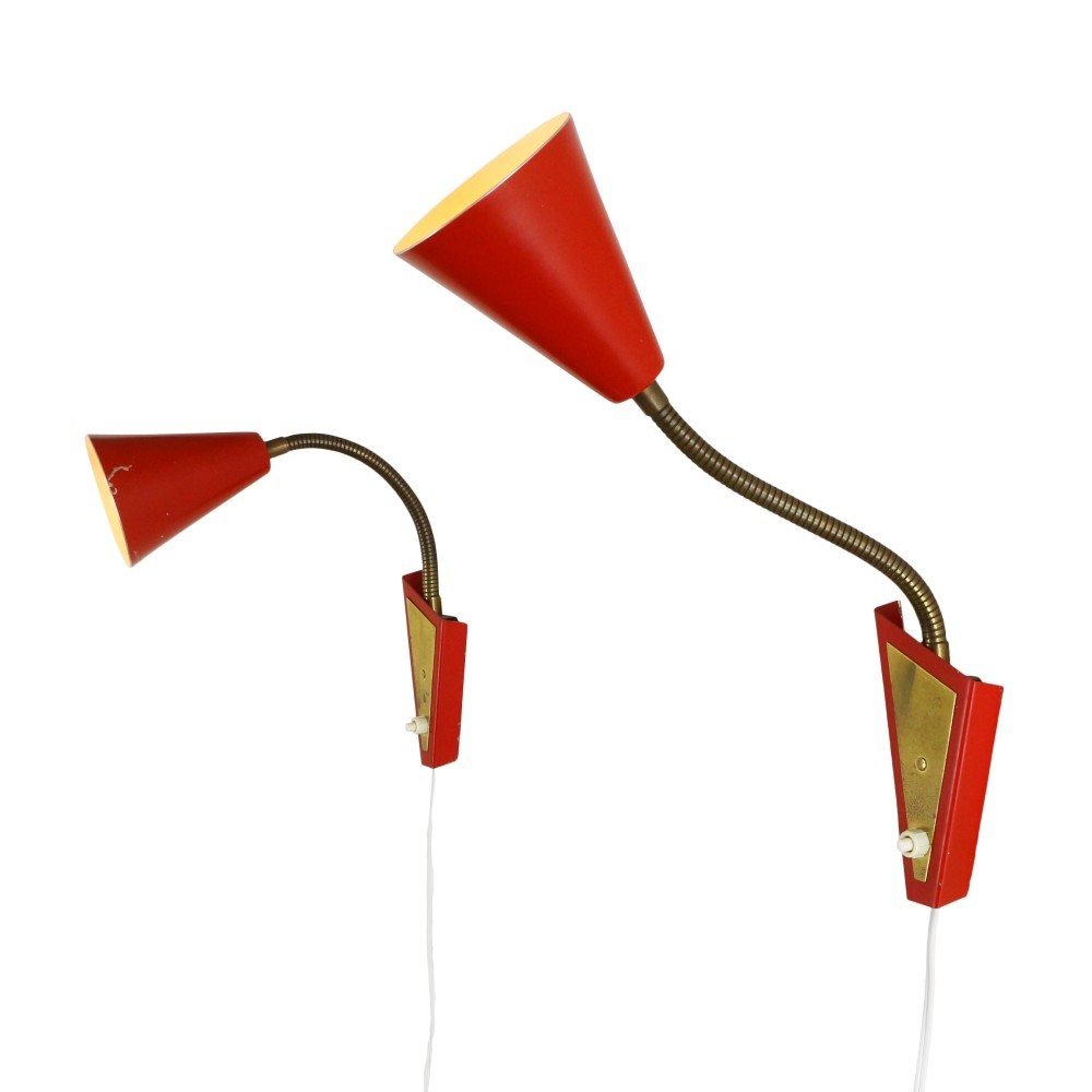 Pair of red bedside wall lights, 1960s