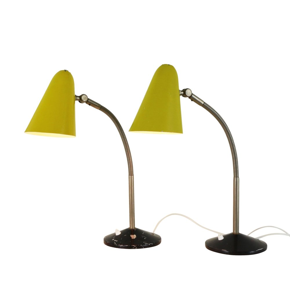 Rare pair of yellow and black desk lights by H. Busquet for Hala Zeist, 1950s