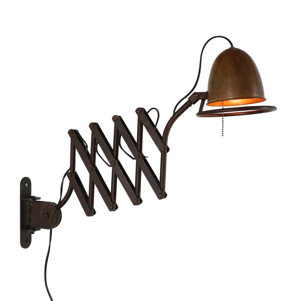 Heavy Industrial scissor wall light made of metal and copper, 1980s