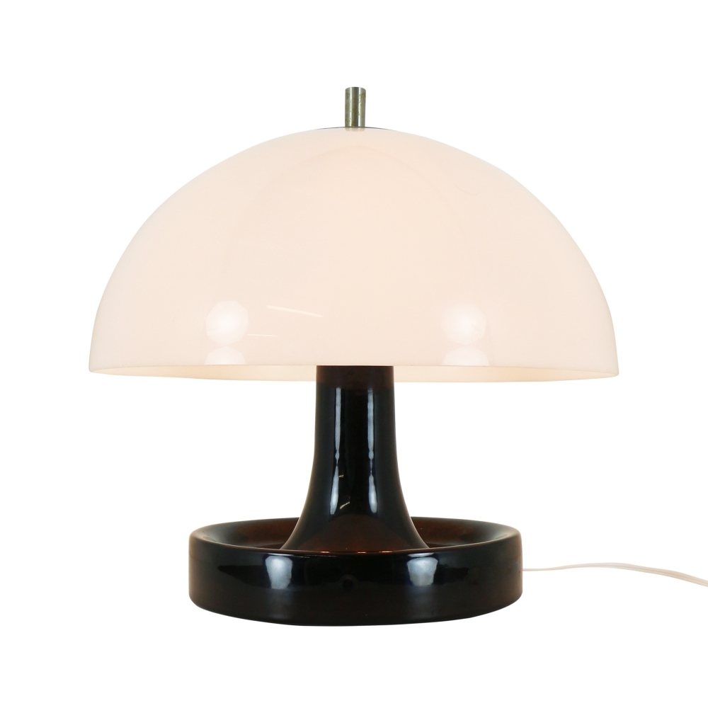 Quality space age mushroom table light with ceramic base, 1970s